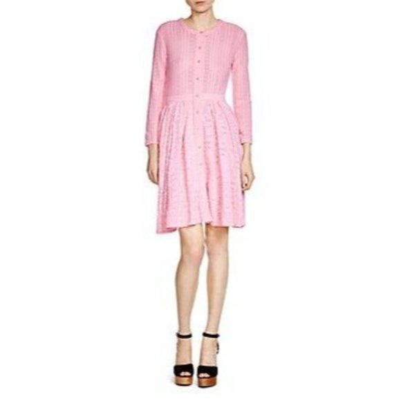 MAJE Rare Roxo Lace Long Sleeve Dress in Rose 3 NW